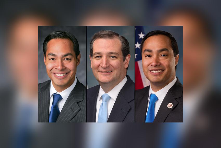 U.S. Housing and Urban Development Secretary Julián Castro (left), U.S. Sen. Ted Cruz and U.S. Rep. Joaquín Castro, D-San An…