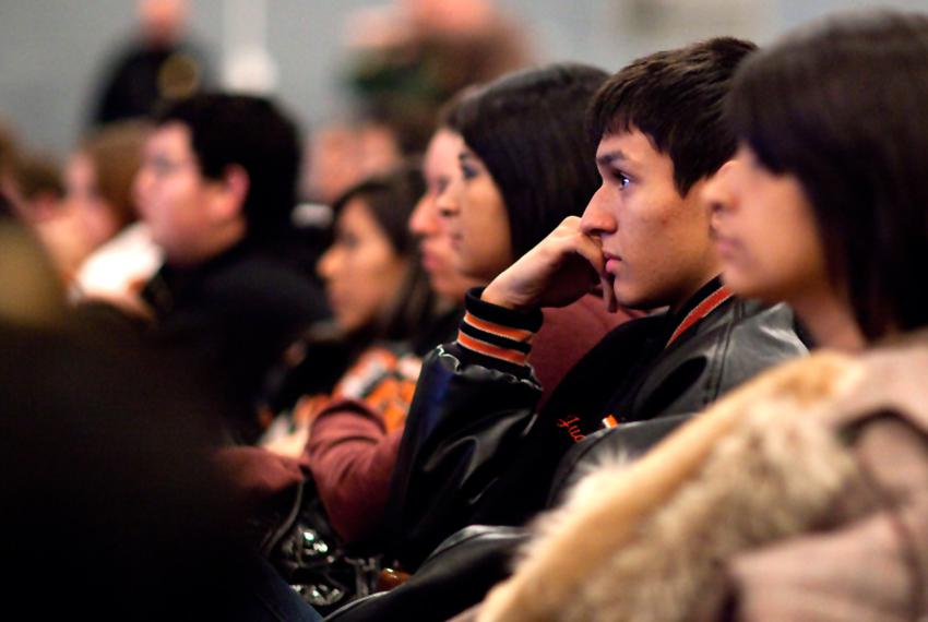 Students at McCamey High School watch a graphic U.S. Border Patrol presentation designed to discourage them from getting inv…