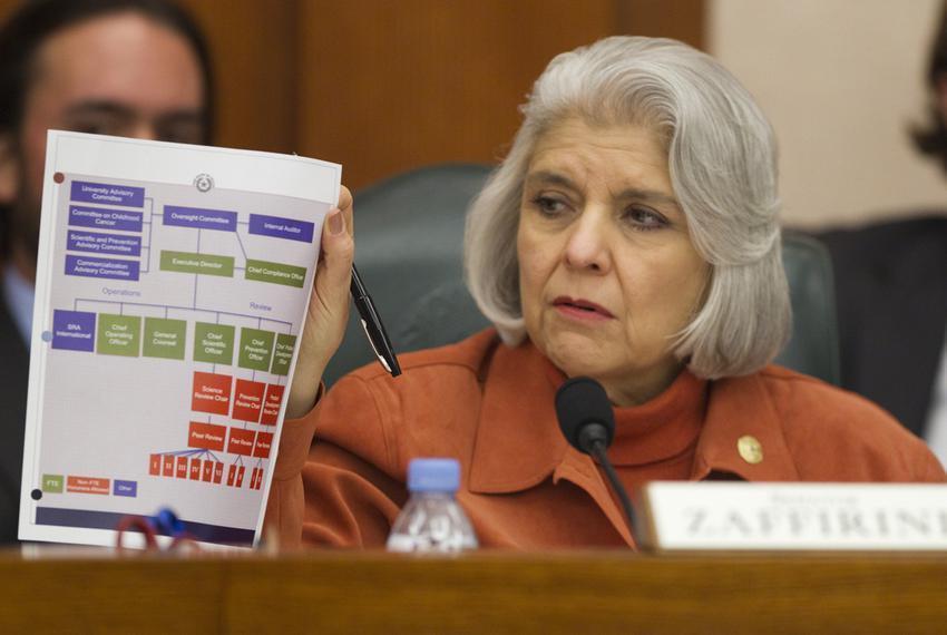 Sen. Judith Zaffirini D-Laredo, holds up chart during testimony by state auditors regarding CPRIT at Senate finance committe…