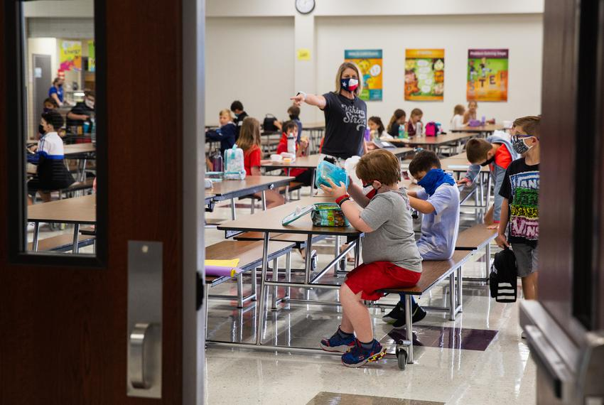 Third-grade lunch on the first day of in-person classes at Highland Village Elementary on Sept. 8, 2020.