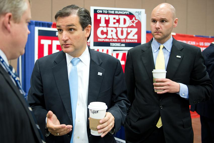 Adviser Jason Johnson (right) helped former Solicitor General Ted Cruz rise from underdog to champion in the 2012 Republic...