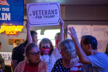 Sgt. Marie Leffingwell along with other Trump supporters awaited the arrival of the former campaign manager Brad Parscale, senior advisor Katrina Pierson and Lt. Gov. Dan Patrick during a bus stop in Granger on Sept 3, 2020.