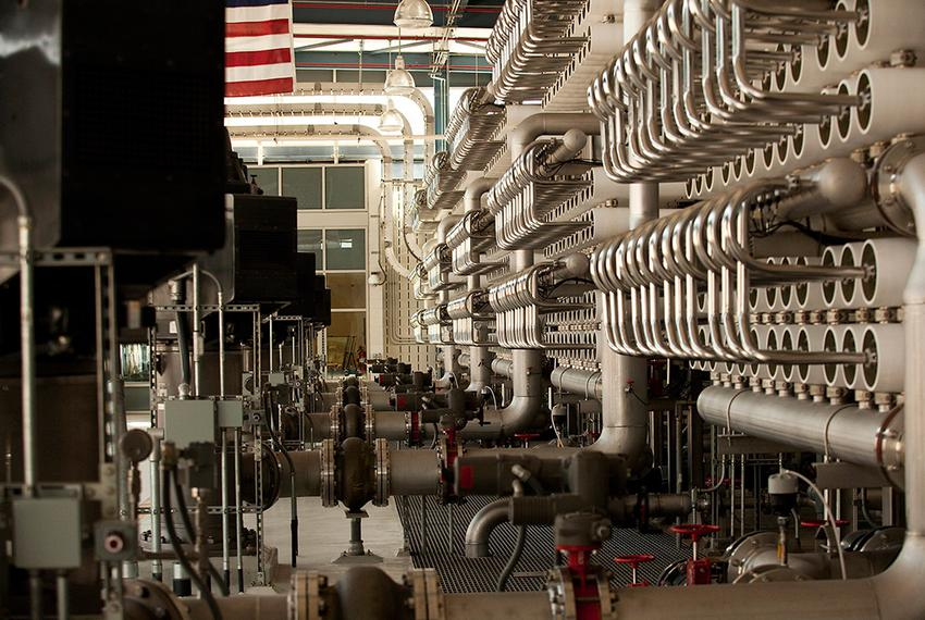 Seen is the inside of the Kay Bailey Hutchison Desalination Plant on April 16, 2012. The $87 million facility produces 27.5 …