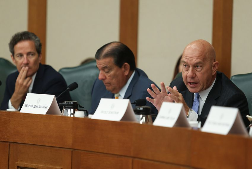 Left to right: State Sens. Kelly Hancock, R-North Richland Hills, Eddie Lucio Jr., D-Brownville, and John Whitmire, D-Houston, at the second day of hearings held by the Senate Select Committee on Violence in Schools and School Security on June 12, 2018.