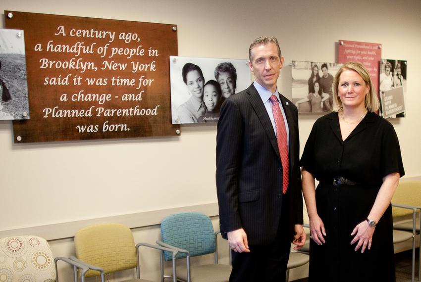Planned Parenthood leaders Ken Lambrecht and Leslie MacLean photographed in the Planned Parenthood waiting room in Addison, …