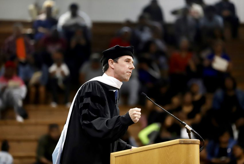 Presidential candidate and former U.S. Rep. Beto O'Rourke spoke Saturday at the Paul Quinn College commencement ceremony in Dallas.