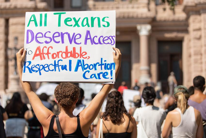 Several dozen people showed up at the Capitol to protest Texas' controversial anti-abortion law on Sept. 11, 2021.