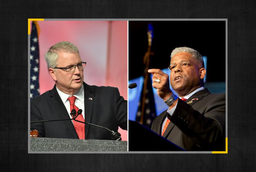 Republican Party of Texas Chairman James Dickey is being challenged by former Florida congressman Allen West.