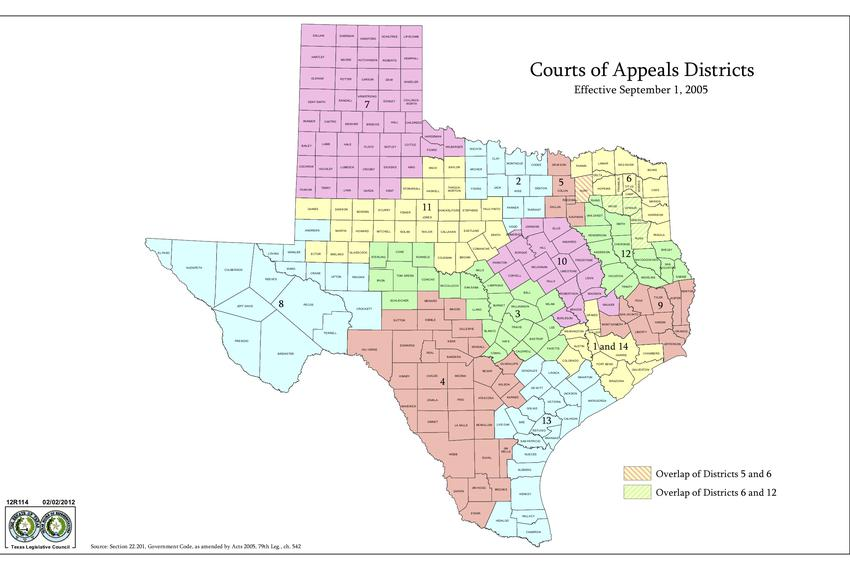 Texas Courts of Appeals Districts.