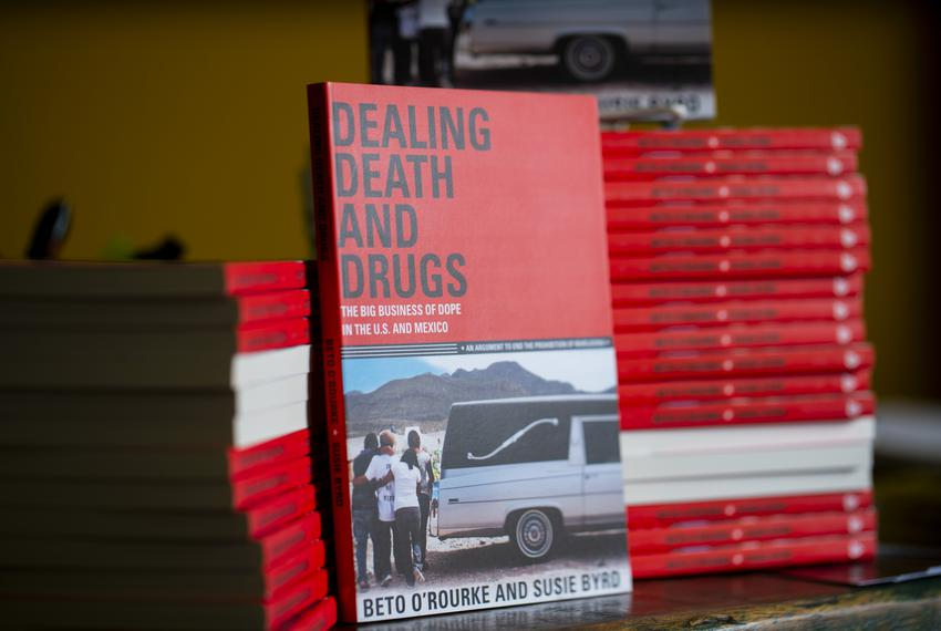 "Copies of presidential candidate Beto O'Rourke's only book, ""Dealing Death and Drugs."" The book was co-written with Suzie By…"