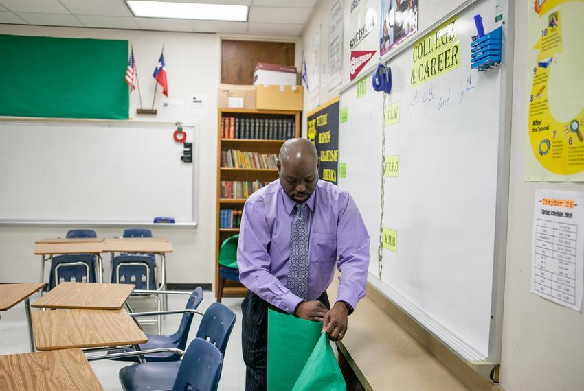 Roderick Scott in his classroom at Forest Meadow Junior High in Dallas on March 12, 2018, where he is the AVID and college c…