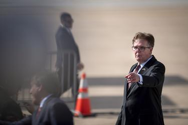 Lt. Governor Dan Patrick greeted invited guests and family at Austin-Bergstrom International Airport ahead of President Trump's arrival to Austin on Nov. 20, 2019.