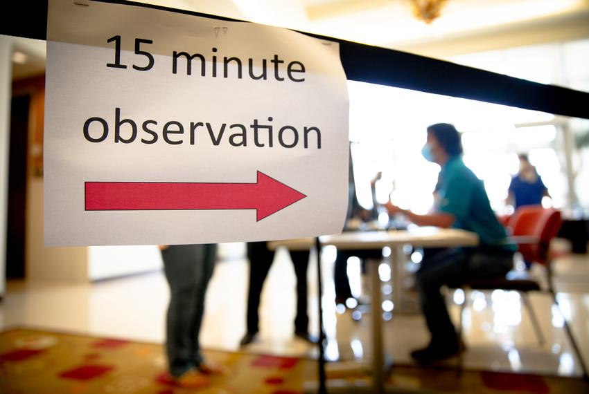 People waited in an observation room for 15 minutes after receiving the COVID-19 vaccine  at DHR Edinburg Conference Center …