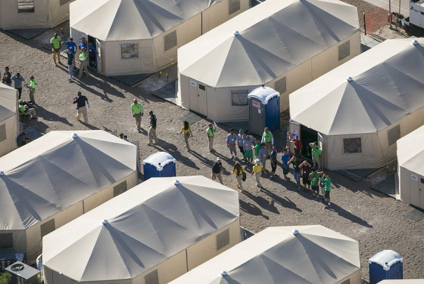 Aerial view of the tent city at the Marcelino Serna Port of Entry in Tornillo on Wednesday, Sept. 12, 2018. The shelter opened in June and has grown approximately 10 times in size, compared to file photos. Ivan Pierre Aguirre for The Texas Tribune