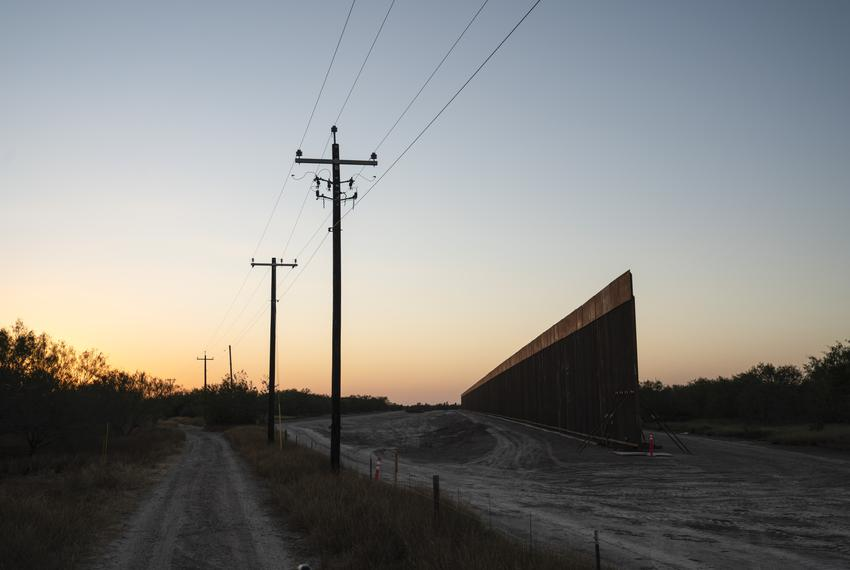 Construction of the border wall close to Mendoza's ranch La Grulla  on Dec. 17, 2020.