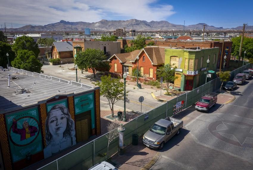 Seen is an aerial photo of the Durangito neighborhood, Tuesday, April 16, 2019, in El Paso, Texas. The neighborhood is in ...