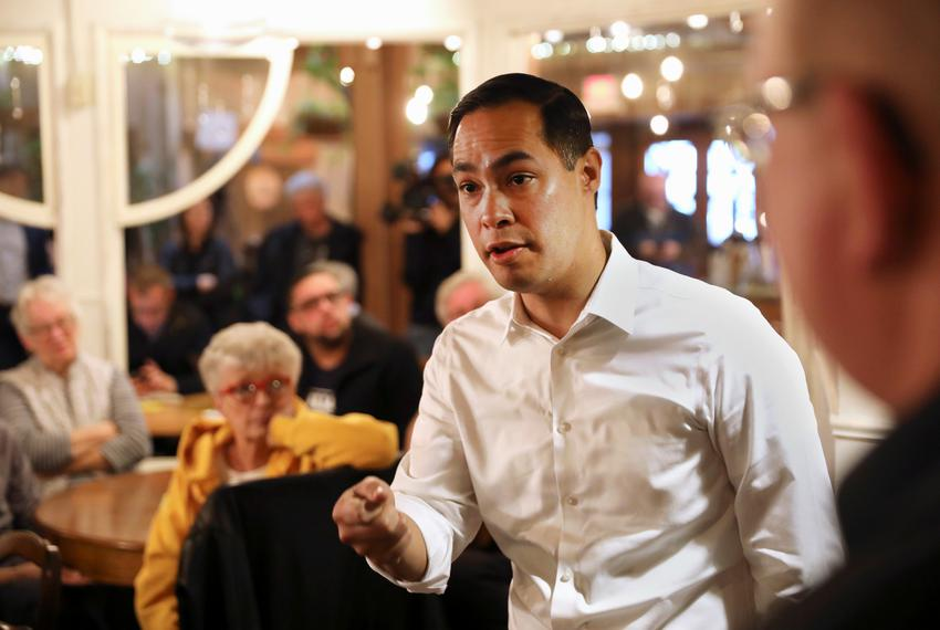U.S. 2020 Democratic presidential candidate Julián Castro speaks during a campaign stop at The Livery Deli, in Boone, Iowa o…