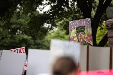 Protesters marched and held a vigil for Fort Hood soldier Vanessa Guillén at the state Capitol on July 5, 2020.