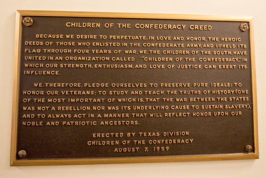 "The ""Children of the Confederacy Creed"" plaque was highlighted in a letter state Rep. Eric Johnson sent to the State Preservation Board, asking that it be taken down."