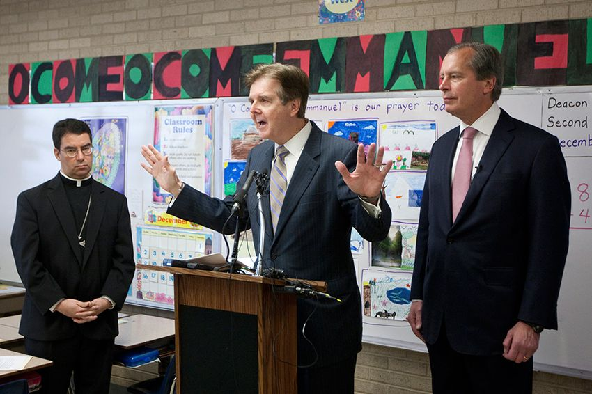 Lt. Governor David Dewhurst and Sen. Dan Patrick R-Houston, during press conference to discuss education reform in Texas including school choice.