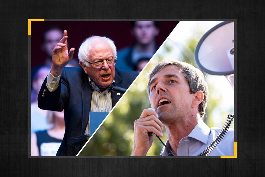 From left: Sen. Bernie Sanders and Beto O'Rourke.