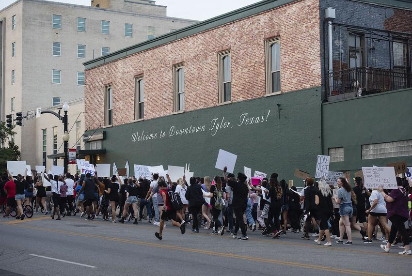 Demonstrators march in Tyler to protest the death of George Floyd. June 1, 2020.