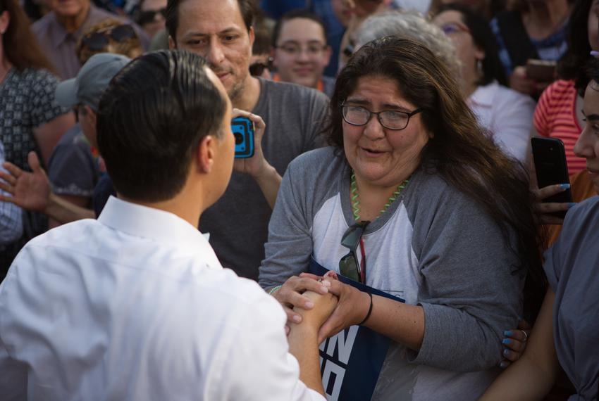 Presidential candidate Julián Castro speaks to supporters at a rally in San Antonio after an earlier visit by President Dona…