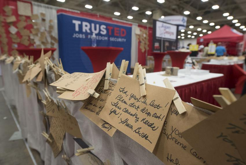 The Ted Cruz booth at the Republican Party of Texas convention in Dallas was lined with notes to the U.S. senator on May 12,…
