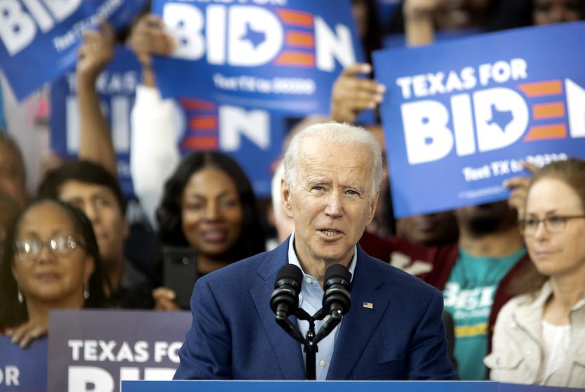 Former Vice President Joe Biden speaks to supporters at a campaign event at Texas Southern University in Houston,  on Marc...