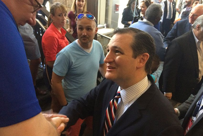 U.S. Sen. Ted Cruz talks to supporters at the Peace Center in Greenville, S.C., on May 9, 2015.