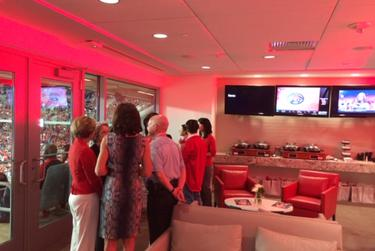 The interior of a University of Houston suite on a game day. Image provided by an attendee.
