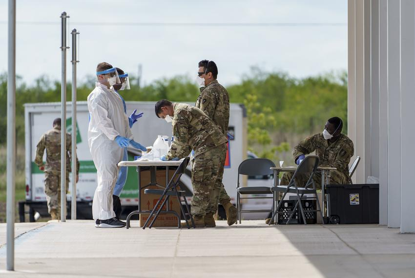 National guard members worked at mobile COVID-19 testing site at Uhland Elementary School on June 18, 2020.