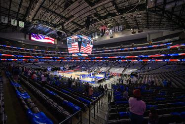A view of the arena and the fans during the playing of the National Anthem before the game between the Dallas Mavericks and the Atlanta Hawks at the American Airlines Center on Feb 10, 2021, in Dallas.