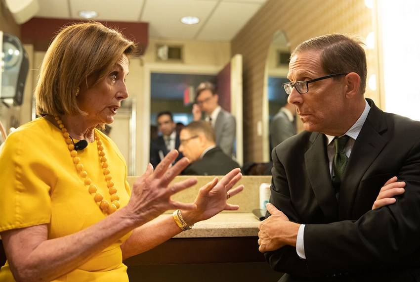 U.S. Speaker of the House Nancy Pelosi speaks with Texas Tribune CEO Evan Smith backstage at the Paramount Theatre during ...