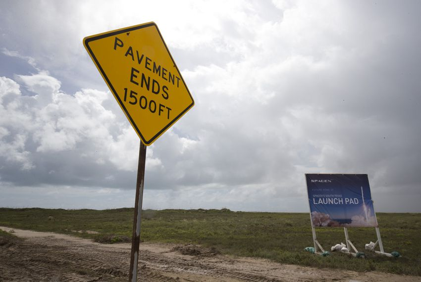 The 100-acre SpaceX launch site at Boca Chica Beach on Sept. 22, 2014