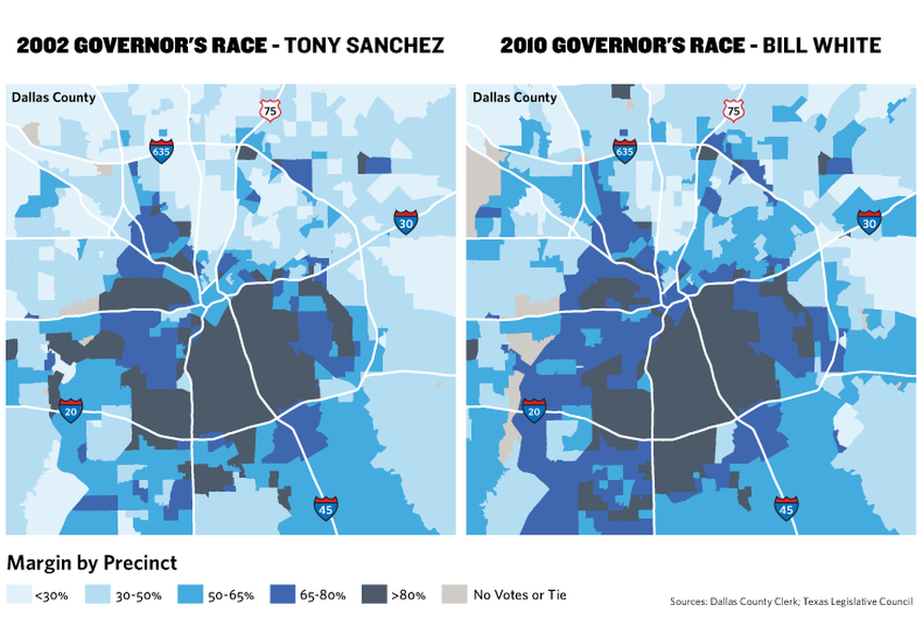 Dallas County has grown increasingly Democratic in the last decade. In the map, darker precincts represent support for Democ…