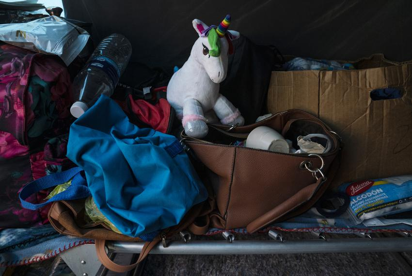 Yulissa's stuff toy is seen among her mother's belongings in the tent at the migrant camp where she used to live with her be…