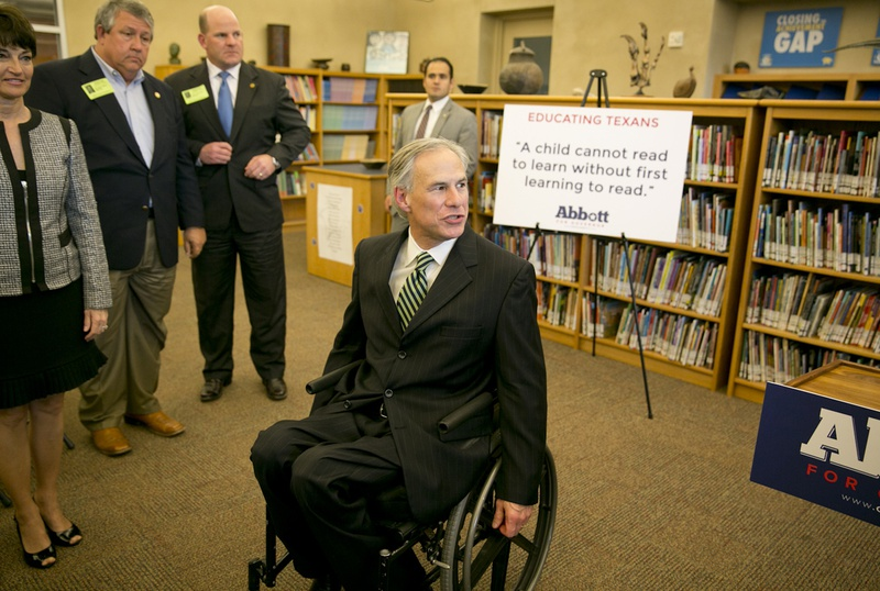 Attorney General Greg Abbott promoting his pre-kindergarten education proposal on April 2, 2014, at the IDEA Carver Academy in San Antonio.