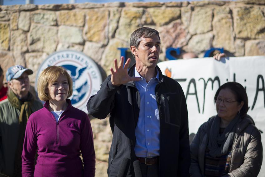 U.S. Rep. Beto O'Rourke, D-El Paso, flanked by U.S. Sens. Tina Smith, D-Minnesota (left), and Mazie Hirono, D-Hawaii, speaks…