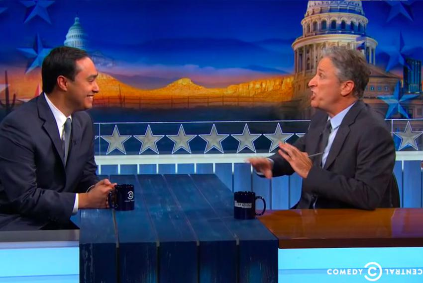 U.S. Rep. Joaquin Castro with Jon Stewart on The Daily Show on Oct. 28.