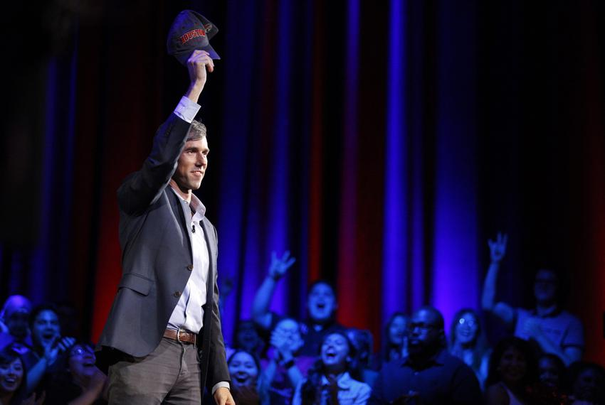 Democratic Senate candidate Beto O'Rourke speaks during a town hall meeting in Houston on Tuesday, Oct. 30, 2018.