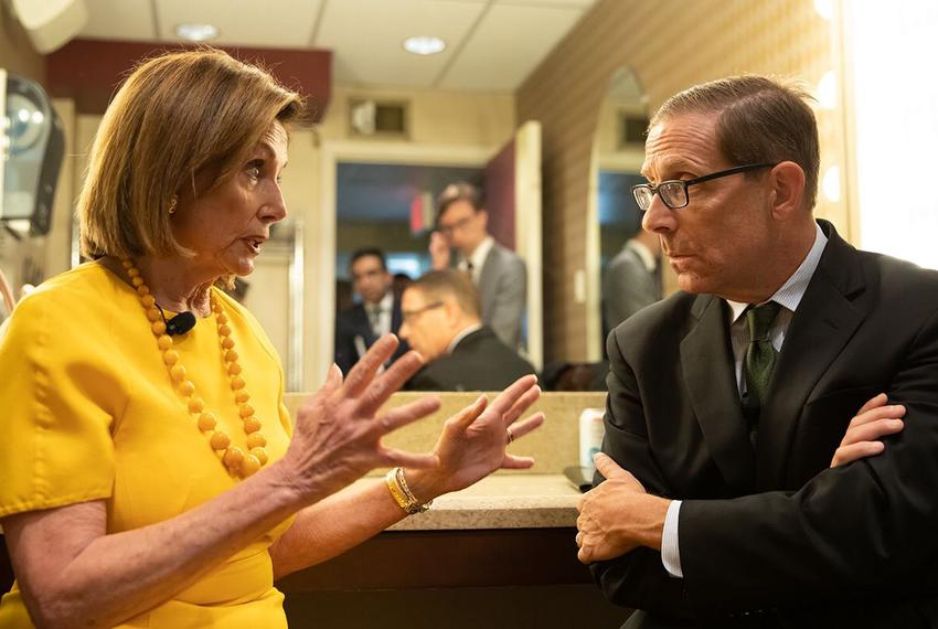U.S. Speaker of the House Nancy Pelosi speaks with Texas Tribune CEO Evan Smith backstage at the Paramount Theatre during th…