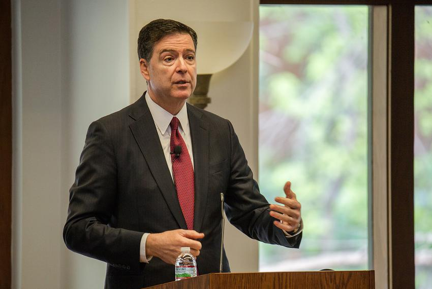 FBI Director James Comey speaks at the Intelligence in Defense of the Homeland symposium at UT-Austin on March 23, 2017.