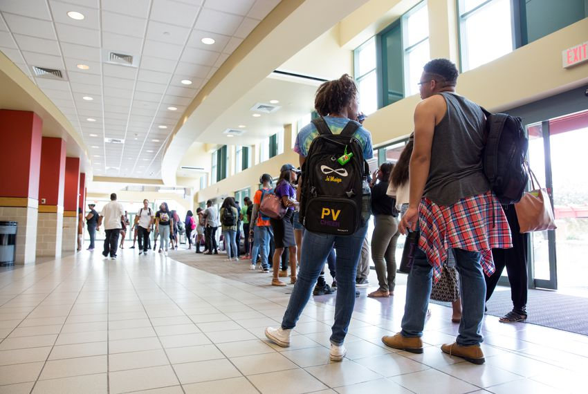 Students in line for early voting at the Willie A. Tempton Student Center at Prairie View A&M University on November 2, 2016.