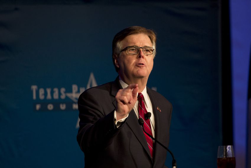 Lt. Gov. Dan Patrick delivers a keynote address during a Texas Public Policy Foundation orientation session on Thursday, Feb. 8, 2018.