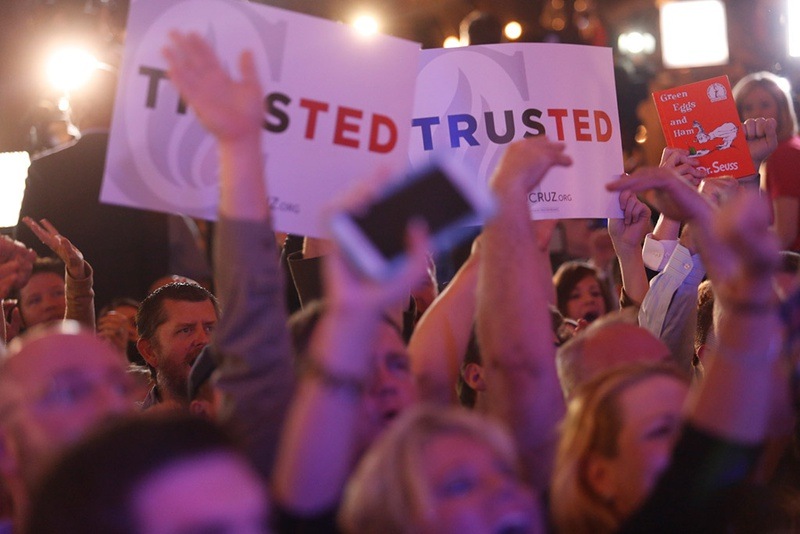 Supporters wait for U.S. Sen. Ted Cruz to take the stage at the Redneck Country Club in Stafford, Texas on the evening of the Texas primary on Mar. 1, 2016.