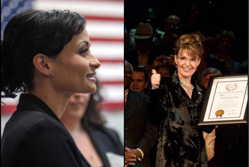 Texas Gubernatorial candidate Katrina Pierson and former Alaska governor and vice-presidential nominee Sarah Palin.