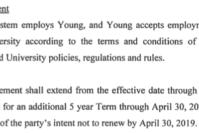 A portion of President Michael Young's employment agreement, signed in March 2015.