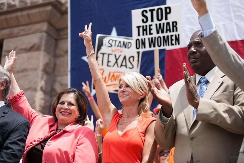 Sen. Leticia Van de Putte, Sen. Wendy Davis, and Sen. Royce West took part in the Stand with Texas Women Rally at the Capi...