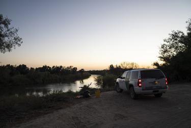 A border patrol vehicle on the banks of the Rio Grande near Villarreal's land in Rio Grande City.